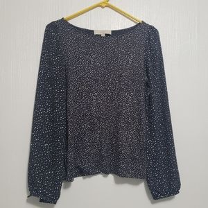Ann Taylor Loft | Navy blue spotted blouse